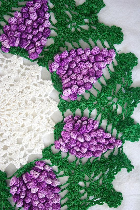 "Vintage Crochet Grape Bunch Green, Purple & White Decorative Round Cotton Doily 15"" #vintage #doily #buttonitupvintage"