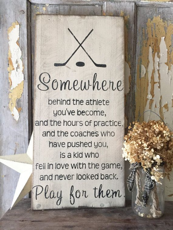 rustic wood hockey sign inspirational hockey by PrimPickinsCanada
