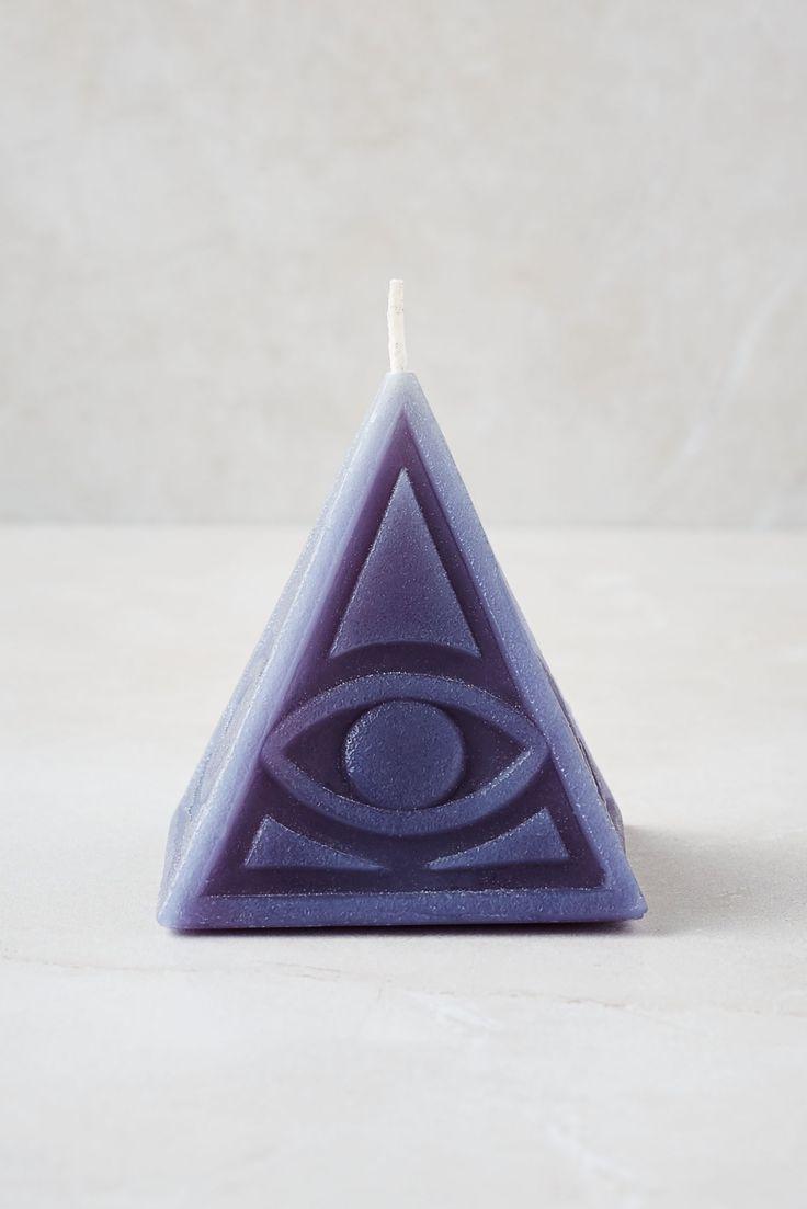 Eye of Rah Pyramid Candle - Grey
