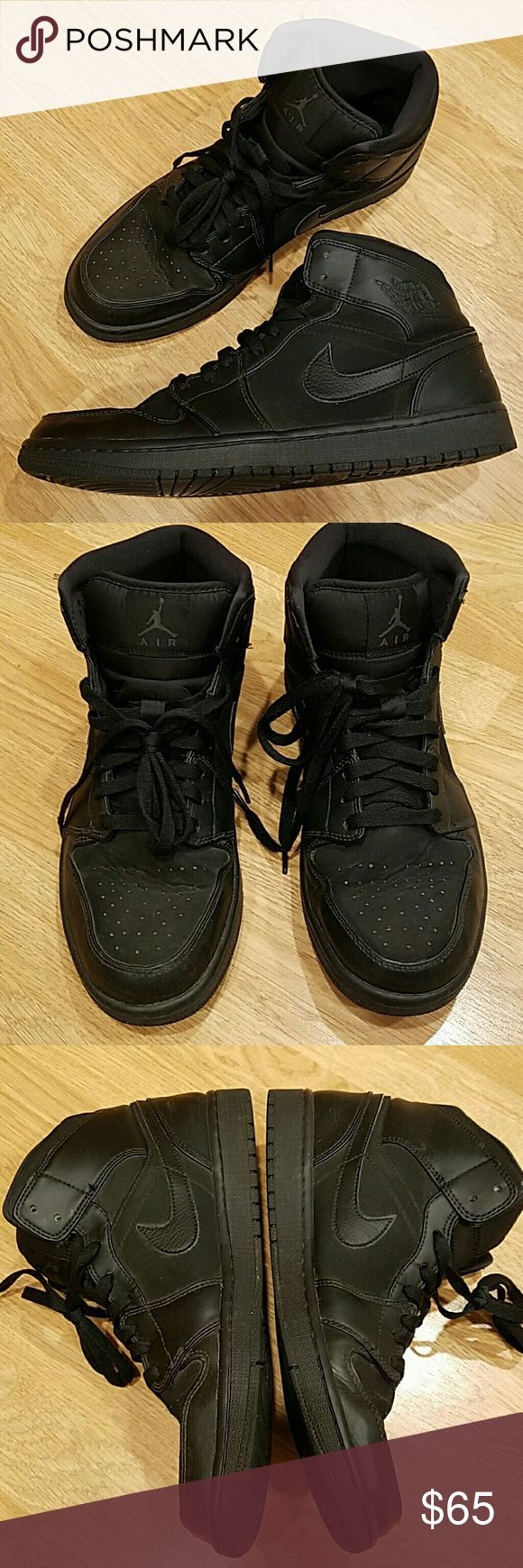 NIKE AIR JORDAN 1 MID BLACK Authentic Nike Air Jordan all black colorway. In great used condition only flaw is burn mark on laces. No damage to shoe. See last photo. Size 10.5 mens no box.  Make an offer Nike  Shoes Sneakers
