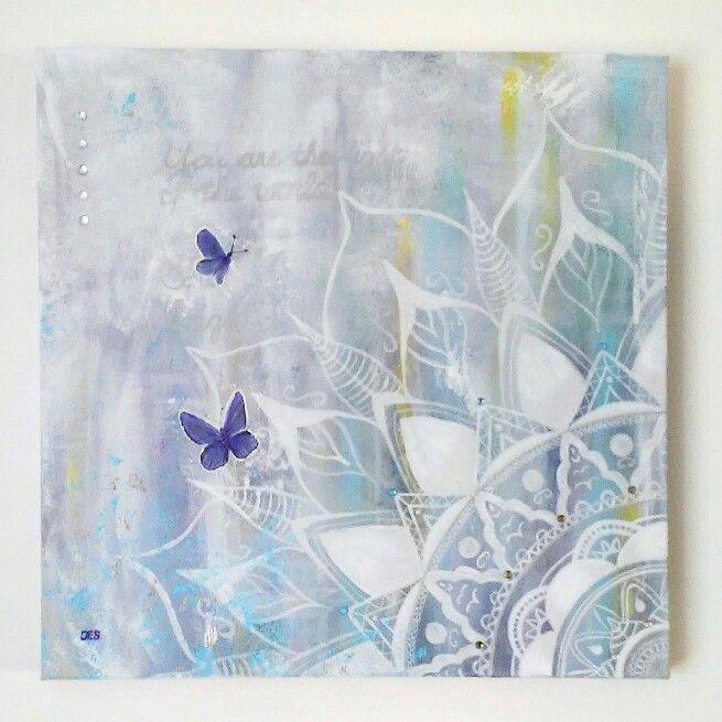 Schilderij Shine bright 3d doek 50x50x4cm Handgeschilderd Nieuw €149,00  Www.creativeartbyjessica.nl #schilderij #painting #mandala #art #kunst #bloemen #flowers #butterfly #vlinders #butterflies #hippie #hippieart #boho #meditation #mindfulness #yoga #energy #love