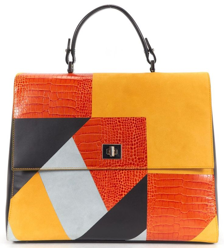 BOSS HUGO BOSS Authentic Yellow Orange Multi Leather BOSS Bespoke TH M-G Bag #BOSSHugoBoss #TopHandleBag
