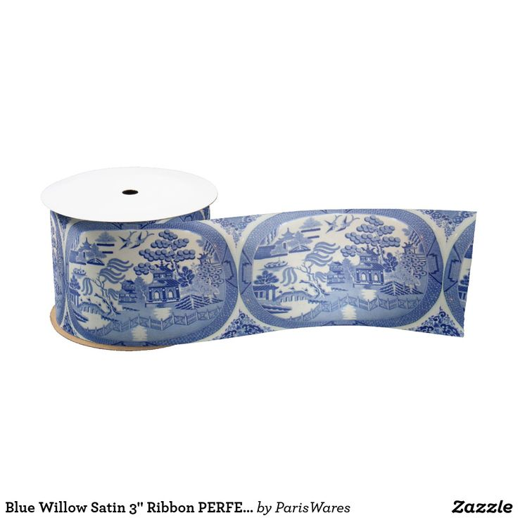 """Blue Willow Satin 3"""" Ribbon PERFECT for any Gift"""