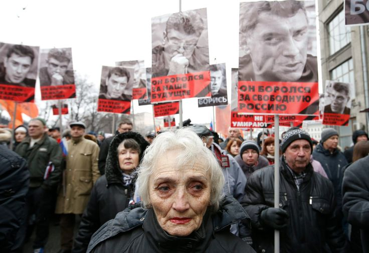 Russian opposition activists march in memory of Boris Nemtsov – in pictures