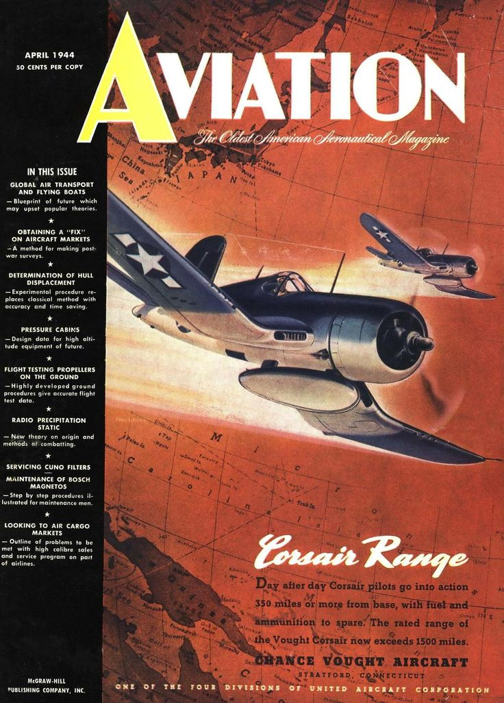 An F4U Corsair on the cover of Aviation Magazine (April 1944)