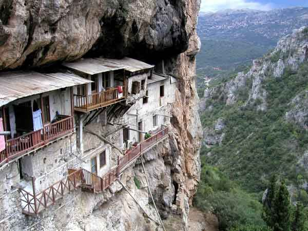 Hanging monastery near Dimitsana, Greece