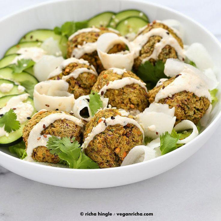 Lentil Split Pea Falafel Bowl with Tahini dressing. Baked Vegan Gluten-free Soy-free Recipe | Vegan Richa