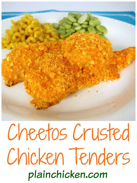 Cheetos Crusted Chicken Tenders - chicken tenders coated in Cheetos and baked - SO yummy! Kids gobble these up!