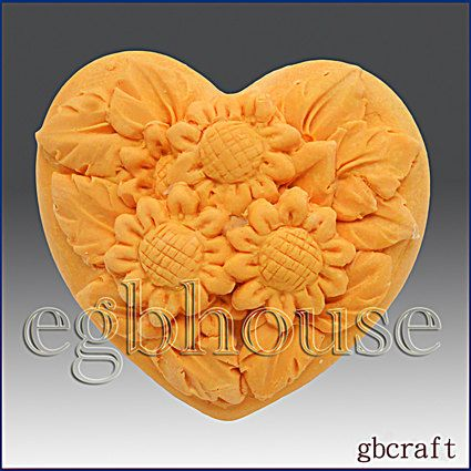 2D Silicone Soap Mold Mini Sunflowers Heart  2 by egbhouse on Etsy, $15.00