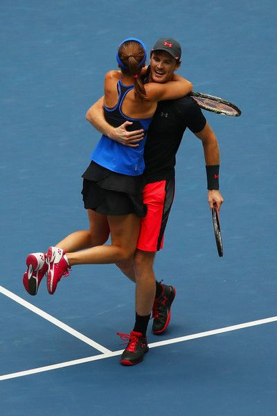 Jamie Murray of Great Britain and Martina Hingis of Switzerland celebrate defeating Hao-Ching Chan of Taiwan and Michael Venus of New Zealand in their Mixed Doubles finals match on Day Thirteen during the 2017 US Open at the USTA Billie Jean King National Tennis Center on September 9, 2017 in the Queens borough of New York City.