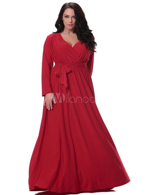 Écharpe rouge profond-V ruché coton lin Maxi robe pour femmes