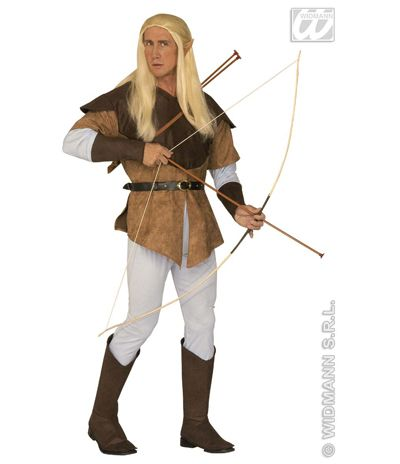 Disfraz de Elfo Arquero  El disfraz incluye: Camisa con casaca, pantalon, cinturon y cubrebotas  Composición: Antelina y punto http://www.disfracessimon.com/disfraces-medievales-adultos-ninos/337-disfraz-elfo-arquero-p-337.html