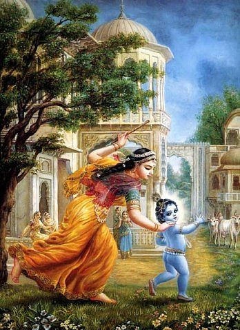To the Supreme Lord, whose form embodies eternity, knowledge, and bliss, whose earrings swing to and fro, who shines beautifully in Gokula, who [due to the offense of breaking the pot of yogurt that His mother was churning into butter and then stealing the butter that was kept hanging from a swing] quickly ran from the grinding mortar in fear of Mother Yasoda, and who was finally caught from behind by her, who ran faster than He—to that Supreme Lord, Sri Damodara, I offer my humble…
