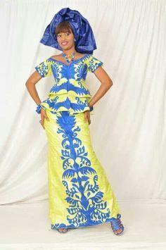 Blauw-gele Afrikaanse jurk