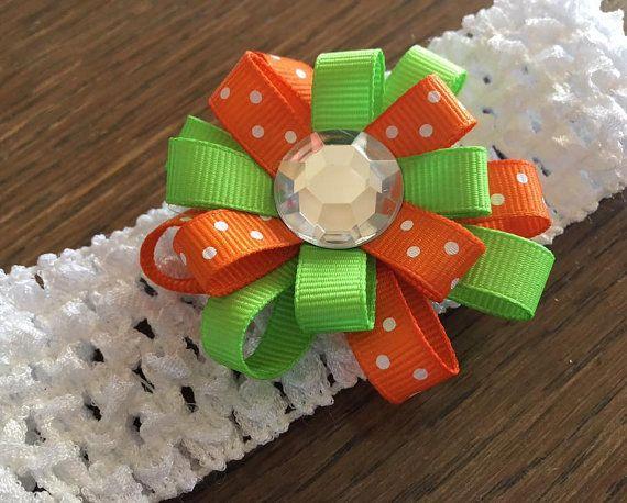 Flor naranja y verde lazo arco con diadema - joya claro