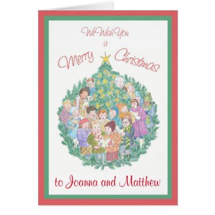 Custom Front Carol Singers and Christmas Tree Card - New Year's Eve happy new year designs party celebration Saint Sylvester's Day