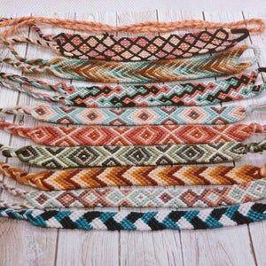 Handmade Zig Zag Woven Colourful Stripe Friendship Bracelet Summer Sustainable Cotton Gift Festival Cute Beach Surf Adjustable