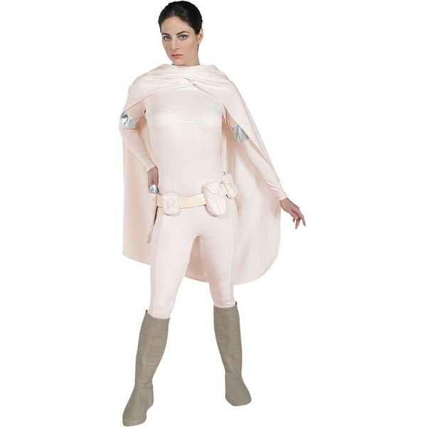 Womens Star Wars Deluxe Padme Amidala Costume ($75) ❤ liked on Polyvore featuring costumes, halloween costumes, multicolor, adult halloween costumes, womens costumes, adult costume, pink lady halloween costume and princess leia costume