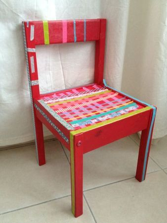 little kids chair  with fancy tape   made by my daughter (5 years)