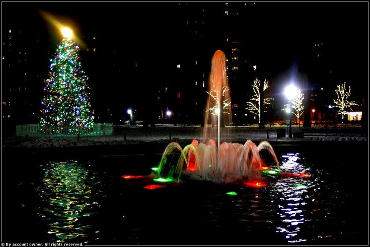 fountains in christmas lights | Panoramio - Photo of Christmas Night Lights (with Fountain) - Stuyvesant Town, NYC - December 2009