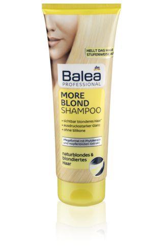 Balea Professional šampon More Blond s phytokeratinem, výtažkem z chmelových květů jemně myje blonďaté vlasy. Pro přirozený blond vzhled. Šampon propůjčuje vlasům hebkost a výrazný lesk.