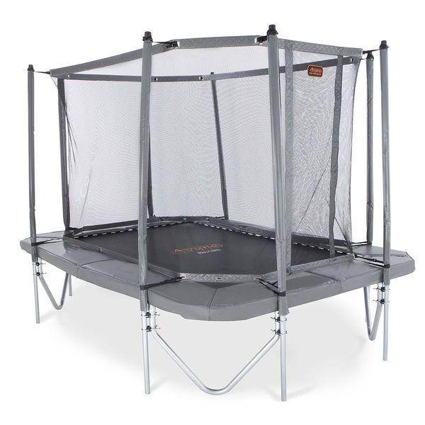 Harmaa Combo-paketti sisältää suorakaiteen muotoisen trampoliinin ja turvaverkon