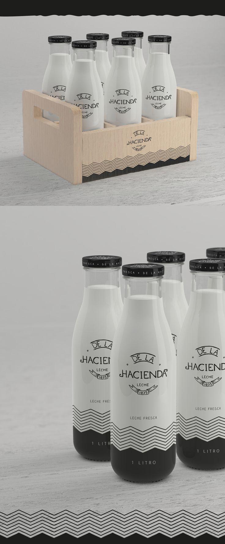 La Hacienda - Leche fresca / Milk bottle Package on Behance