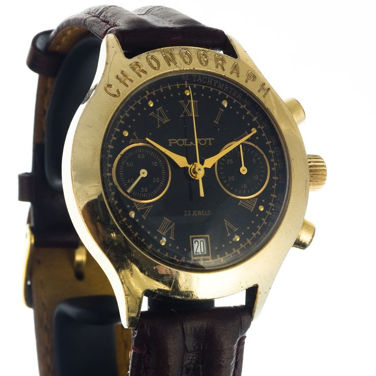 Poljot chrono watch in golden style with black dial