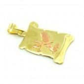 Znamenie zo žltého zlata v tvare zvinutého listu papiera-vodnár