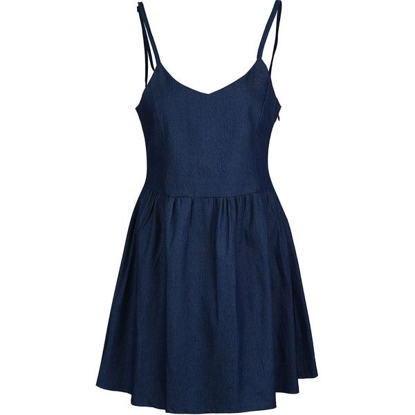 Spaghetti Strap Lace-Up Plain Denim Skater Dress ($27) ❤ liked on Polyvore featuring dresses, day summer dresses, blue skater dress, blue dress, long-sleeve skater dresses and lace up dress