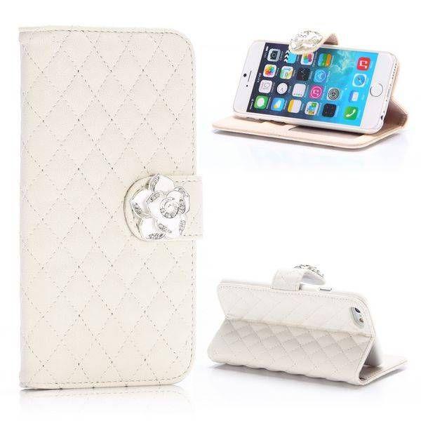 Wit wallet hoesje met diamantsluiting voor iPhone 6