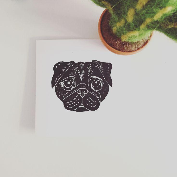 Black Pug lino print greeting card by The Black Pug Press