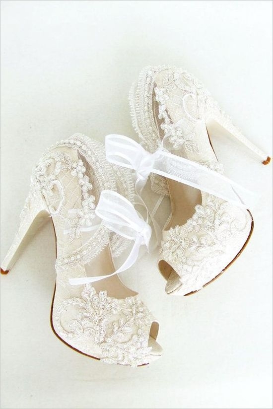 """Wedding Shoes - Bridal Shoes Embroidered Ivory Lace with Pearls and Ribbons, 5""""Heels"""