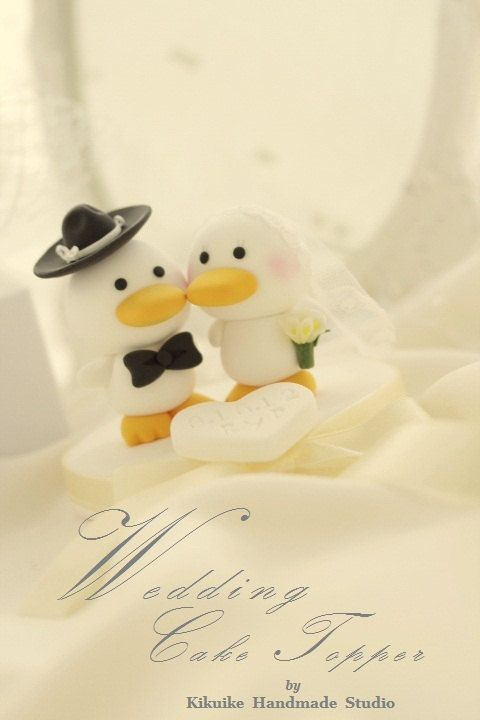 bride and groom duck Wedding Cake Topper by kikuike on Etsy