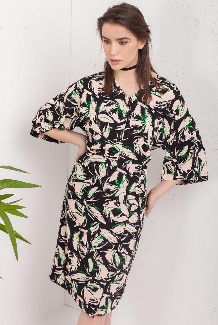 Rochie midi, stil kimona din bumbac
