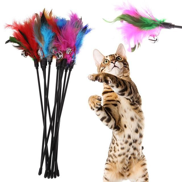 HOT Kitten Play Interactive Fun Toy Cat Teaser Wand Pet Colorful Feather+Bell