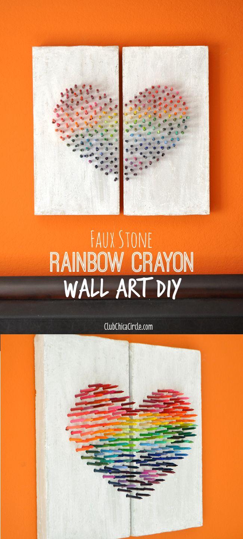 Master bedroom wall decor diy - Homemade Crayon Wall Art Diy Makeitfuncrafts By Club Chica Circle