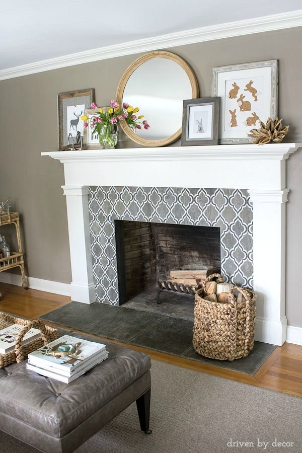 Fireplace decorated for spring with round IKEA mirror, inexpensive art printables, and spring tulips