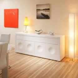 Stylish Solid Sideboard Cabinet Or Buffet In White Gloss