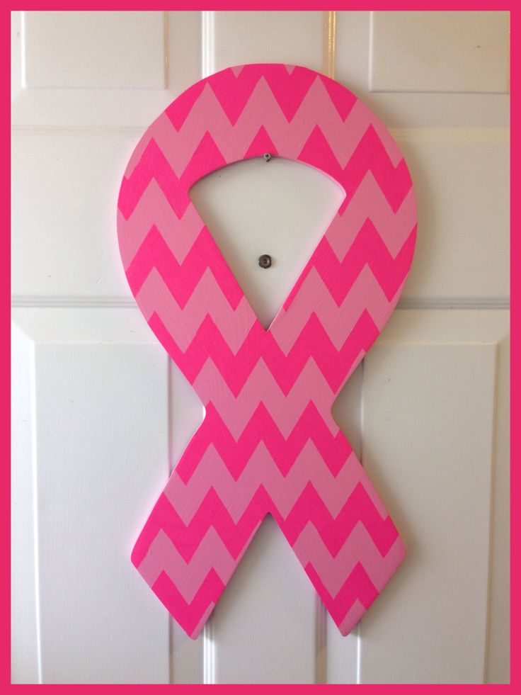 24 Quot Wooden Chevron Print Breast Cancer Awareness Ribbon