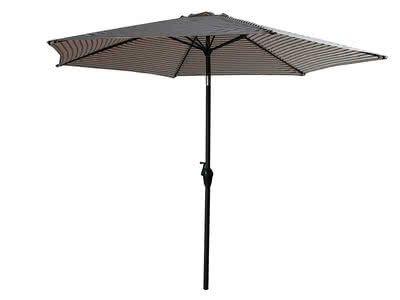 Parasol droit ajustable aluminium polyester rayé blanc/noir ZEBRA ...