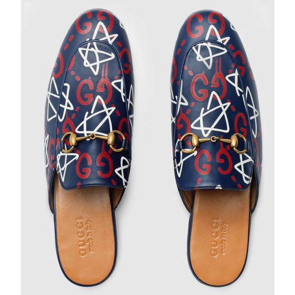 Gucci Guccighost Princetown Slipper ($600) ❤ liked on Polyvore featuring men's fashion, men's shoes, men's slippers, mens leather sole shoes, mens leather slippers, gucci mens shoes, mens leopard print shoes and mens leather soled slippers