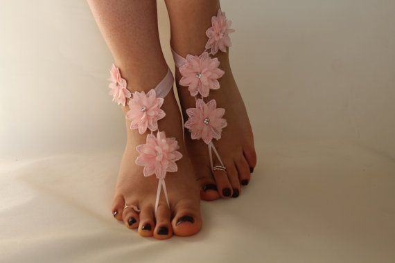 FREE SHİPP Beach Wedding Barefoot Sandals Pink Lace by byPassion
