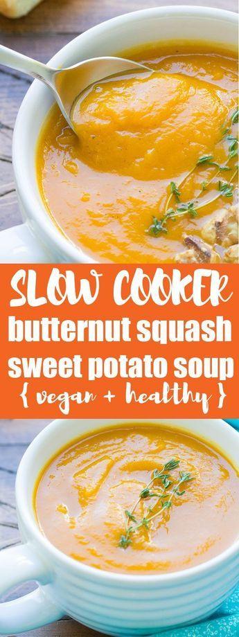 Eine gesunde vegetarische und vegane Suppe aus dem Topf. Dieser Slow Cooker Butt …