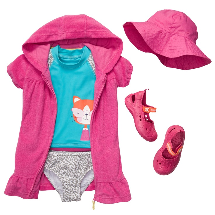 purr-fectly pink rash guard swim outfit. #carters