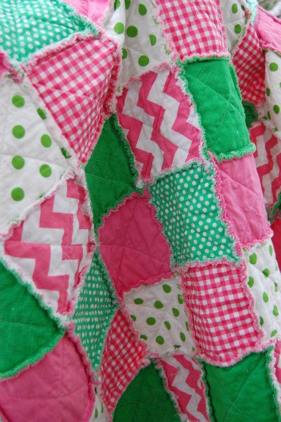 Little Girl Rag Quilt  Perfect Stroller Blanket  by ModernThreads1