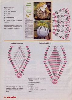 Crochet diagram for Christmas bulb ornaments. wzory na szydełkowe bombki - Szukaj w Google
