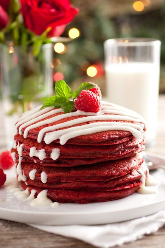 Valentines Day pancakes. Red Velvet Pancakes with Cream Cheese Glaze