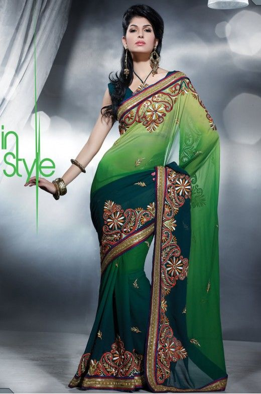 Parrot Green & Steel Blue Embroidered Saree