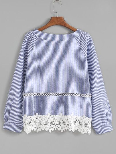 Shop Blue Striped Appliques Hollow Out Blouse online. SheIn offers Blue Striped Appliques Hollow Out Blouse & more to fit your fashionable needs.